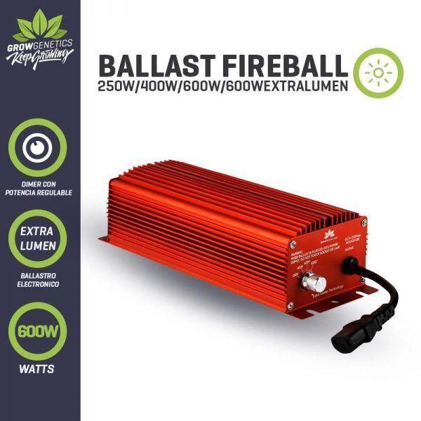 Balastro Electronico Regulable Extra Lumen 600W Fireball - Grow Genetics